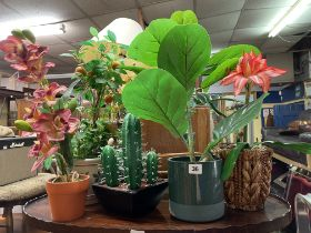 SELECTION OF ARTIFICIAL POTTED HOUSE PLANTS INCLUDING ORCHIDS