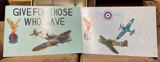 TWO PAINTED BOARDS OF RAFA FIGHTER PLANES