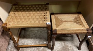 OAK BARLEY TWIST AND RAFFIA STRUNG STOOL AND ONE OTHER