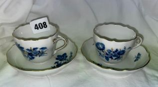 PAIR OF 20TH CENTURY MEISSEN DEUTSCHE BLUMEN TEA CUPS AND SAUCERS