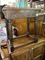 OAK CARVED 17TH CENTURY STYLE JOINT STOOL