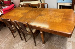 ART DECO GEOMETRIC WALNUT AND BURR WALNUT DINING ROOM SUITE IN THE MANOR OF HILLE INCLUDING