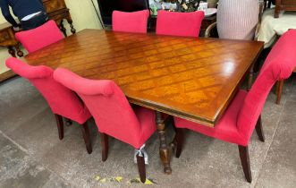 SPANISH INFLUENCE WALNUT AND PARQUETRY TOPPED OBLONG DINING TABLE WITH SCROLL METAL WORK STRETCHERS