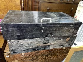 TWO BLACK PINE TOOL CHESTS