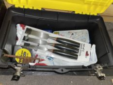 STANLEY TOOLBOX AND CONTENTS - CHISELS, TAPE RULER,