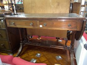 REGENCY STYLE MAHOGANY GREEN LEATHER INSET TOP DROP FLAP SOFA TABLE