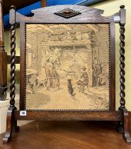 OAK BARLEY TWIST TAPESTRY FIRE SCREEN AND SMALL OPEN BOOKCASE