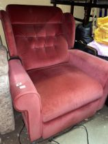 RED BUTTONED UPHOLSTERED ELECTRIC RECLINING ARMCHAIR