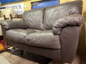 PAIR OF BROWN LEATHER TWO SEATER SOFAS