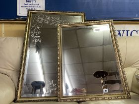 ETCHED PANE GILT FRAMED MIRROR AND ONE SMALLER MIRROR