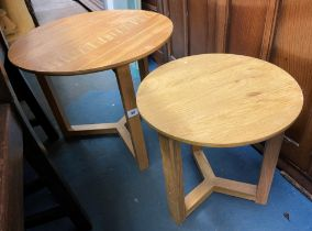 TWO LIGHT OAK CIRCULAR OCCASIONAL TABLES