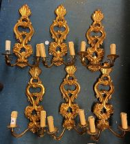 SET OF SIX GILDED ACANTHUS SCROLL TWO BRANCH WALL APPLIQUES