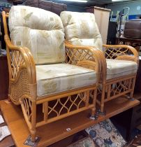 PAIR OF BAMBOO AND RATTAN CONSERVATORY ARMCHAIRS