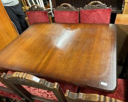 OAK BULBOUS LEG CONFECTIONARY TABLE AND SIX BARLEY TWIST HIGH BACKED CHAIRS