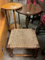 OAK CIRCULAR TOPPED LAMP TABLE, OCCASIONAL TABLE,
