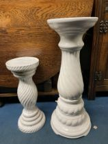 TWO WHITE POTTERY PLANTER STANDS