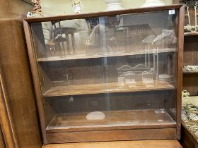 1960S TEAK GLAZED SLIDING DOOR DWARF CABINET