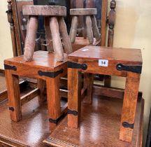 PAIR OF HARDWOOD METAL STRAP WORK TABLES AND AN ELM MILKING STOOL
