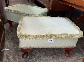TWO GREEN UPHOLSTERED CABRIOLE LEG STOOLS ONE A/F
