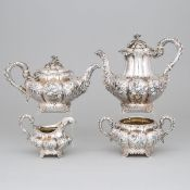 William IV Silver Tea and Coffee Service, Charles Gordon, London, 1830, coffee pot height 8.1 in — 2