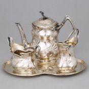 German Art Nouveau Silver Solitaire Coffee Service, Wilhelm Binder, Schwäbisch Gmünd, c.1900, tray w