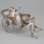 Chinese Export Silver Rickshaw Condiment Caddy, Tan Shao Ji, Wing On, Hong Kong, 20th century, lengt