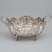 German Silver Pierced Oval Two-Handled Basket, probably Hanau, early 20th century, length 6.5 in — 1
