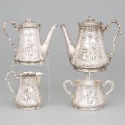 German Silver Bachelor's Tea and Coffee Service, Weinranck & Schmidt, Hanau, c.1900, largest pot hei