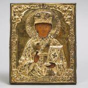 Russian Silver-Gilt and Painted Icon of Saint Nikita, Bishop of Novogrod, Moscow, 1863, 10.5 x 8.7 i