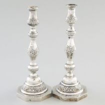Pair of English Silver Table Candlesticks, A. Taite & Sons, London, 1941, height 11.5 in — 29.3 cm (
