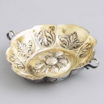 German Silver Parcel-Gilt Two-Handled Lobed Oval Brandy Bowl, early 19th century, length 5.3 in — 13