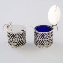 Pair of English Silver Pierced Drum Mustard Pots, Thomas Edward Rawlings (possibly), London, 1920, h