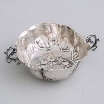 German Silver Two-Handled Lobed Oval Brandy Bowl, 18th century, width 5.2 in — 13.2 cm