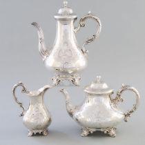 Victorian Silver Coffee Pot, Teapot and Cream Jug, Edward, John & William Barnard, London, 1849/50,