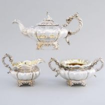 William IV Silver Tea Service, Charles Fox II, London, 1835, teapot height 6.2 in — 15.8 cm (3 Piece