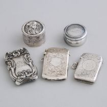 Five North American, English and German Silver Vesta Cases and Circular Boxes, late 19th/early 20th