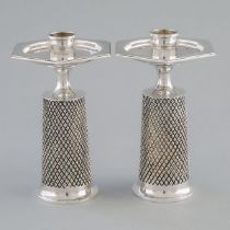 Pair of English Silver Table Candlesticks, Anthony Gordon Elson, London, 1970, height 6 in — 15.3 cm