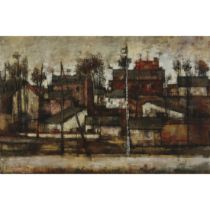 Michel de Gallard (1921–2007), CITYSCAPE WITH HOUSES, 1958, Oil on canvas; signed and dated '58 lowe