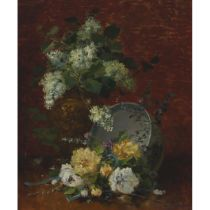 Eugene Henri Cauchois (1850-1911), HYDRANGEAS AND ROSES, Oil on canvas; signed lower right, 18 ins x