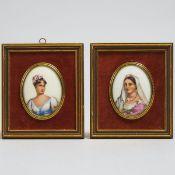 Pair of Limoges Porcelain Portrait Miniatures, 20th century, 5.9 x 5.1 in — 15 x 13 cm