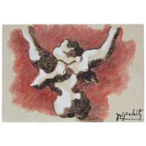 Attributed to Jacques Lipchitz (1891-1973), FIGURE WITH ARMS UPHELD, Gouache and ink on thick tan pa
