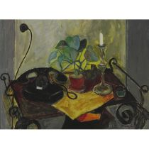 Lajos Kõrösy (1910-?), TABLE WITH ARRANGEMENT, Oil on canvas; signed lower right, 23 ins x 21 ins; 5