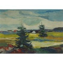 Aage Bernard Frederiksen (1883-1963), TREES WITH VIEW TO FARMHOUSES IN THE DISTANCE, Oil on canvas;