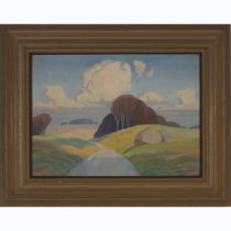 Eric Pitt Brown (1894-1955), RURAL VIEW WITH ROLLING HILLS NEAR SALISBURY, Oil on panel; signed lowe