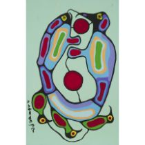 Norval H. Morrisseau, R.C.A. (1931-2007), LIFE POWER CIRCLE, CIRCA 1991, Acrylic on canvas; signed i