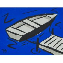 Tom Slaughter (1955-2014), UNTITLED (ROWBOAT AT DOCK), 1988, Gouache and ink on stiff paper; signed