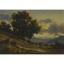 Guy de Simone (20th Century), RITORNO ALLA MALGA (HERDER GOING UP A HILL), Oil on canvas; signed low