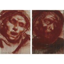 Pietro Annigoni (1910-1988), STUDIO DI TESTA PER AFFRESCO (TWO DRAWINGS: NO. 13 AND NO. 14), Two red