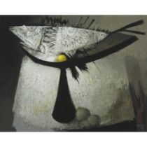 Ramón Prats (also known as Ramón PRATS VENTOS) (1928-2003), BODEGON C. PESCADO, 1970, Acrylic on boa