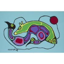Norval H. Morrisseau, R.C.A (1931-2007), COMING ALIVE, CIRCA 1991, Acrylic on canvas; signed in syll